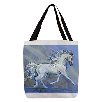andalusian horse joy polyester tote bag