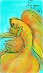 Golden Betta Fish to Color