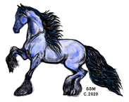 Friesian Mare Trotting